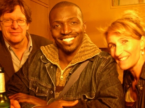 Rolf Teigler, Maman Salissou Oumarou, and Annette Wurbs at the premiere party of the short film Gebratene Tauben at Kiez Kino Dessau.